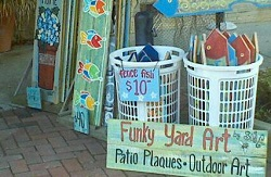 Funky Yard Art and more discoveries at the Dauphin Island Art Trail. Photo courtesy of Dauphin Island Art Trail.