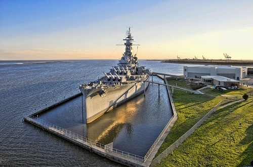 USS Alabama Battleship in Mobile Bay.